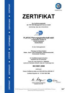 plafog Planungsgesellschaft DIN EN ISO 9002 Zertifikat