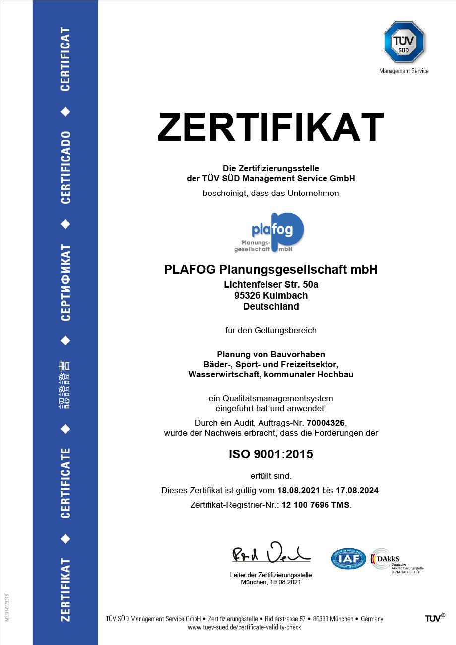 Zertifizierung Die plafog Planungsgesellschaft mbH